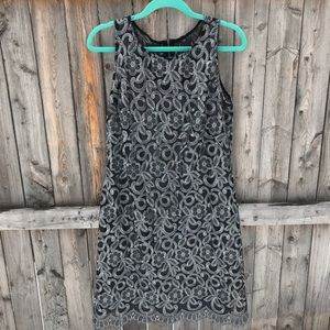 Donna Ricco Silver Embroidered Lace Shift Dress